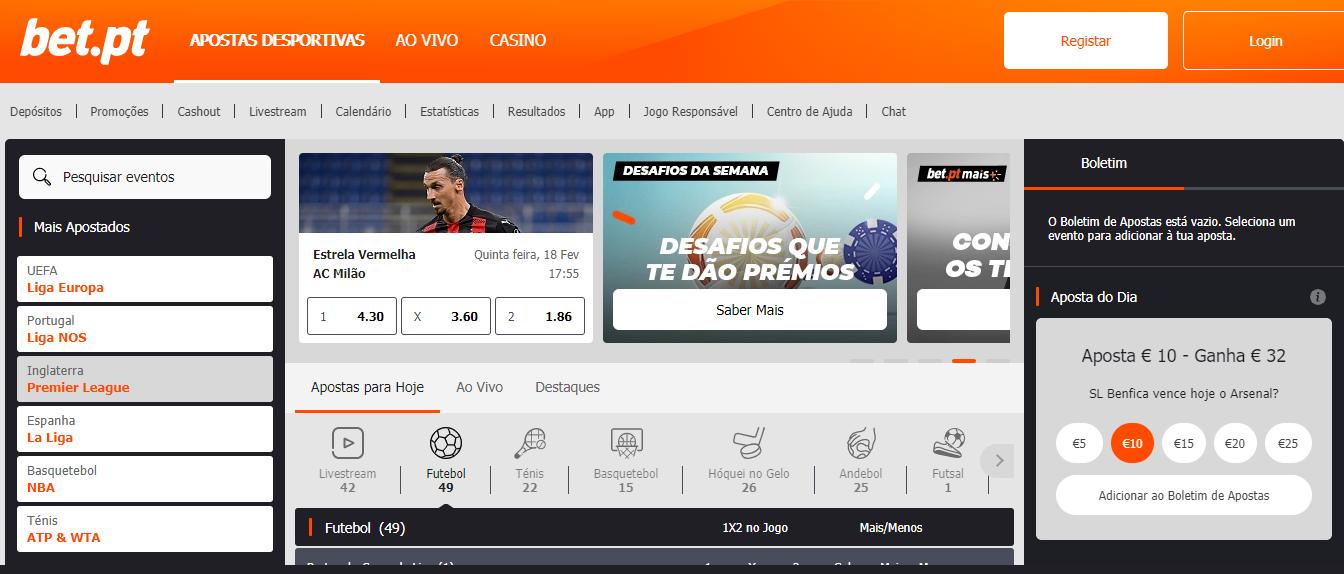 Homepage Bet.pt