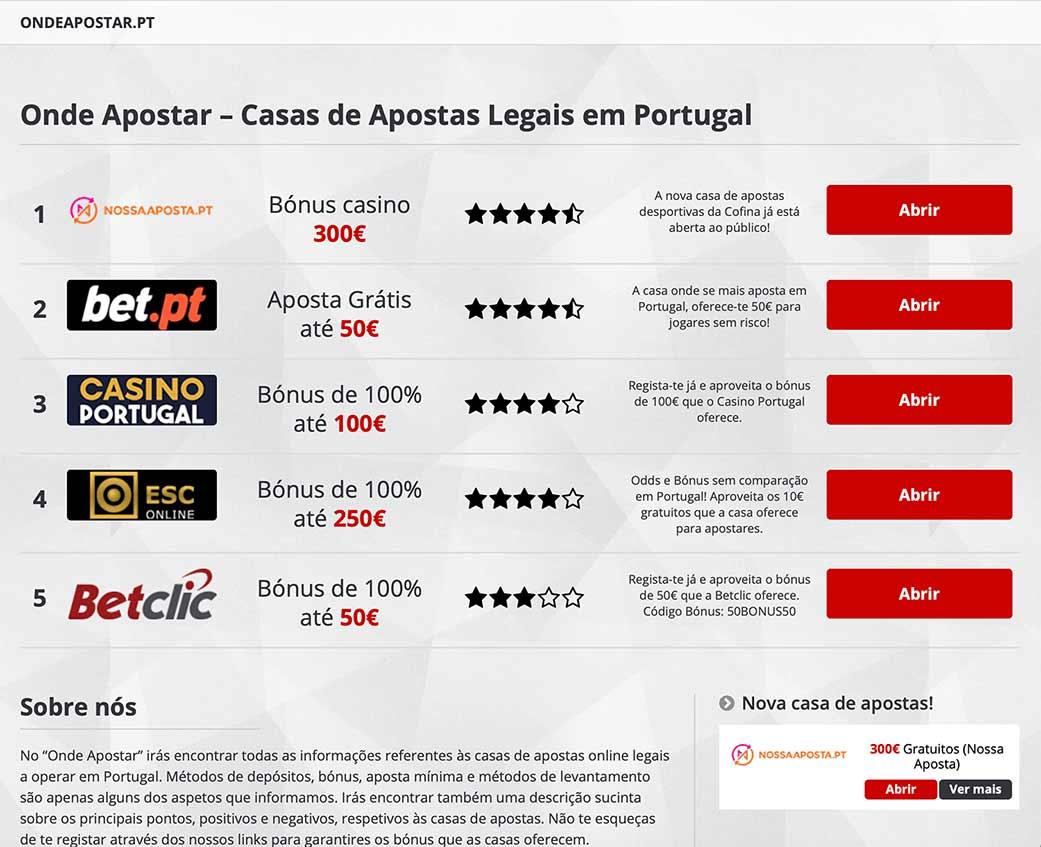 Site apostas legais portugal
