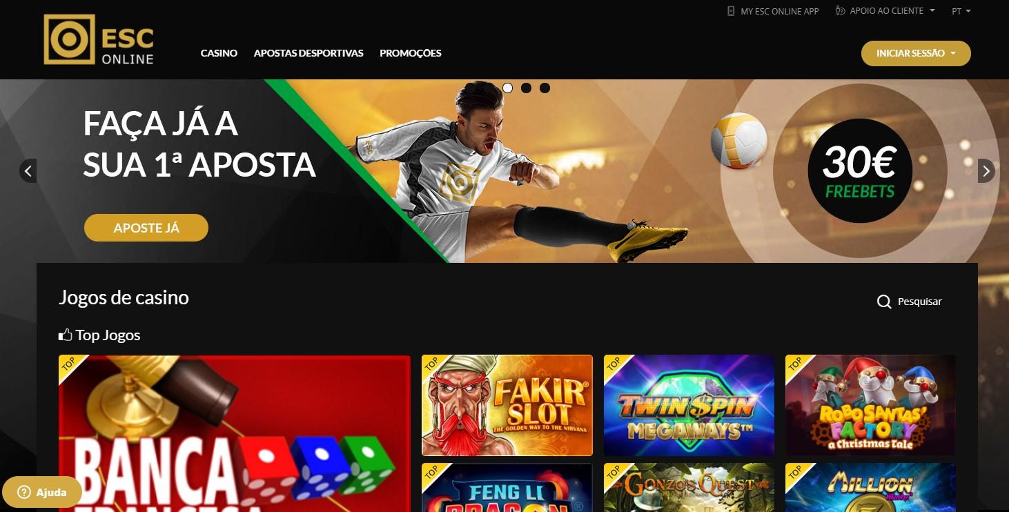 Homepage da ESC Online
